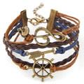 Kombiniertes Armband, Zinklegierung, mit PU Leder, antike Bronzefarbe plattiert, 5-litzig, frei von Blei & Kadmium, 180*22mm, verkauft per ca. 7.09 ZollInch Strang