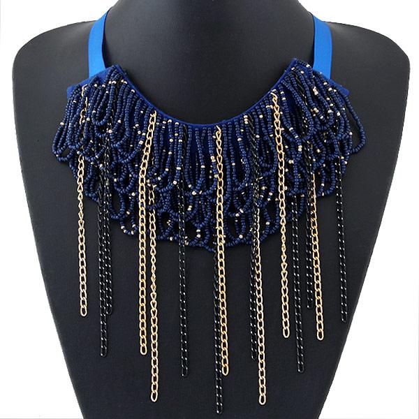 Kette Woven Halskette, Zinklegierung, mit Ripsband & Glas-Rocailles, plattiert, frei von Blei & Kadmium, 450x150mm, Länge:ca. 17.72 ZollInch, verkauft von PC