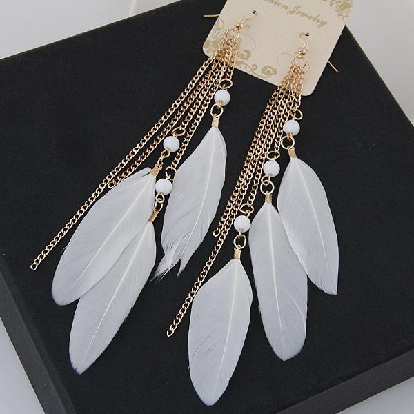 Mode-Feder-Ohrring, Eisen, mit Feder, Federn, goldfarben plattiert, weiß, frei von Blei & Kadmium, 150mm, verkauft von Paar