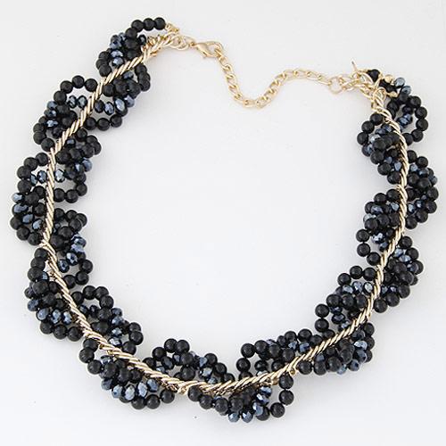 Plastik-Perlenkette, Zinklegierung, mit ABS-Kunststoff-Perlen & Kristall, rund, goldfarben plattiert, facettierte, schwarz, frei von Blei & Kadmium, 400mm, verkauft per ca. 15.75 ZollInch Strang