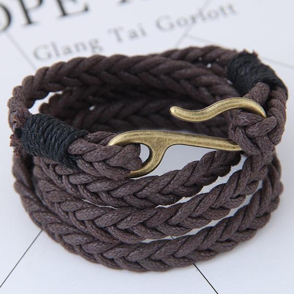 Mode Wachsschnur Armbänder, Gewachste Hanfschnur, mit Zinklegierung, antike Bronzefarbe plattiert, 4-Strang, 380x40mm, verkauft per 14.96 ZollInch Strang