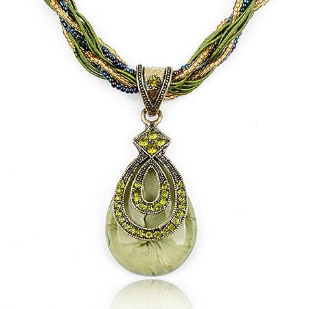 Glasperlen -Halsketten-, Zinklegierung, mit Glas-Rocailles & Strass, Tropfen, plattiert, frei von Blei & Kadmium, 400x72x30mm, verkauft per ca. 15.75 ZollInch Strang