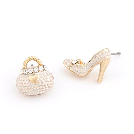 asymmetrische Ohrringe, Zinklegierung, goldfarben plattiert, Emaille & mit Strass, frei von Blei & Kadmium, 14x13mm, verkauft von Paar