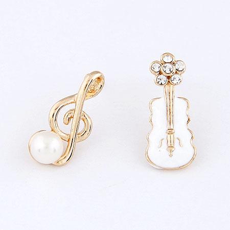 asymmetrische Ohrringe, Zinklegierung, goldfarben plattiert, Emaille, frei von Blei & Kadmium, 21x9mm, verkauft von Paar