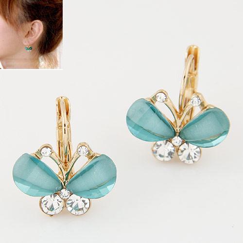 Zinklegierung Hebel Rückseiten Ohrring, mit Harz, Schmetterling, goldfarben plattiert, blau, frei von Blei & Kadmium, 22x18mm, verkauft von Paar