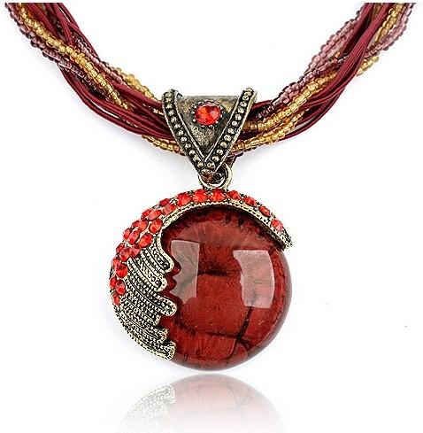 Harz Halskette, Zinklegierung, mit Strass & Harz, flache Runde, antik silberfarben plattiert, dunkelrot, frei von Blei & Kadmium, 400x57x37mm, verkauft per ca. 15.75 ZollInch Strang