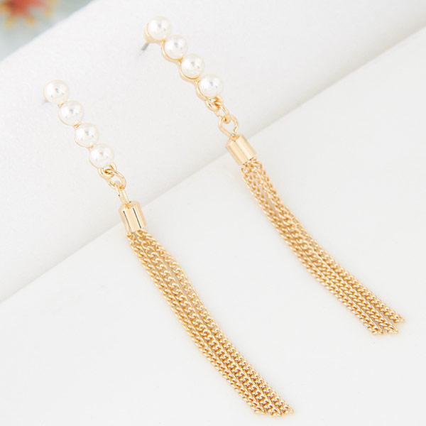 Mode-Fringe-Ohrringe, Zinklegierung, mit Glasperlen, goldfarben plattiert, frei von Blei & Kadmium, 68mm, verkauft von Paar