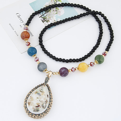 Harz Pullover Halskette, mit Zinklegierung, Tropfen, plattiert, mit Strass & hohl, weiß, frei von Blei & Kadmium, 700x80x40mm, verkauft per ca. 27.56 ZollInch Strang