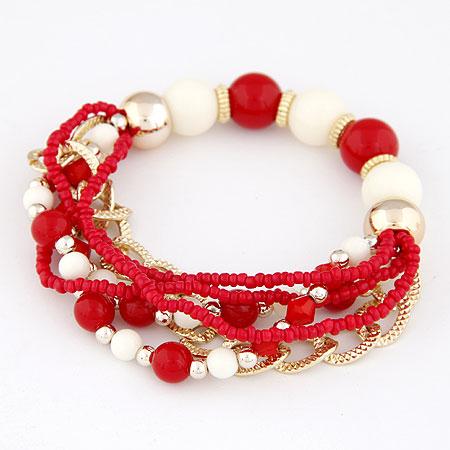 Acryl Armbänder, Zinklegierung, mit Acryl, goldfarben plattiert, rot, frei von Blei & Kadmium, 170mm, verkauft per ca. 6.69 ZollInch Strang