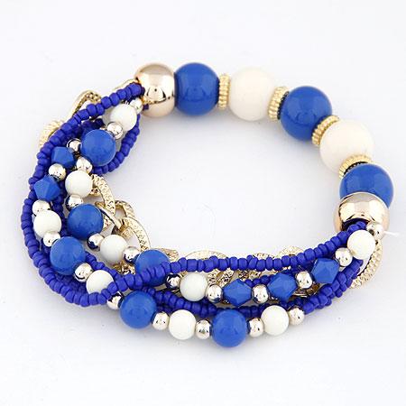 Acryl Armbänder, Zinklegierung, mit Acryl, plattiert, blau, frei von Blei & Kadmium, 170mm, verkauft per ca. 6.69 ZollInch Strang