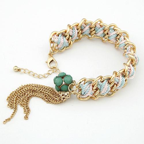 Kette gewebte Armbänder, Zinklegierung, mit Nylonschnur, goldfarben plattiert, frei von Blei & Kadmium, 17mm, verkauft per ca. 7.09 ZollInch Strang