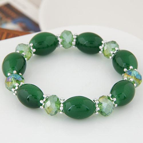 Acryl Armbänder, mit Kristall, oval, facettierte & Volltonfarbe, grün, 12mm, verkauft per ca. 6.89 ZollInch Strang