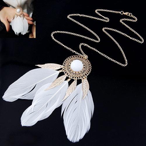 Zinklegierung Pullover Halskette, mit Feder, goldfarben plattiert, Twist oval, frei von Blei & Kadmium, 700x120x40mm, verkauft per ca. 27.56 ZollInch Strang