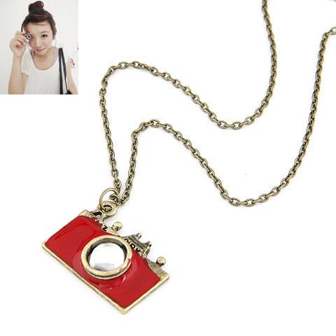 Zinklegierung Pullover Halskette, Kamera, antike Bronzefarbe plattiert, Emaille, rot, frei von Blei & Kadmium, 650x33x21mm, verkauft per ca. 25.59 ZollInch Strang