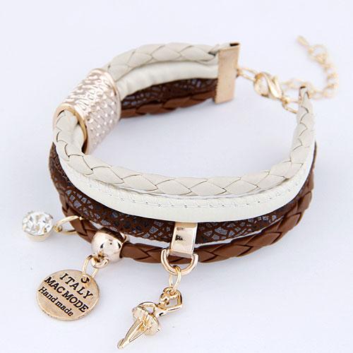 Kombiniertes Armband, Verkupferter Kunststoff, mit PU Leder, mit Brief Muster & mit Strass, 200mm, verkauft per ca. 7.87 ZollInch Strang