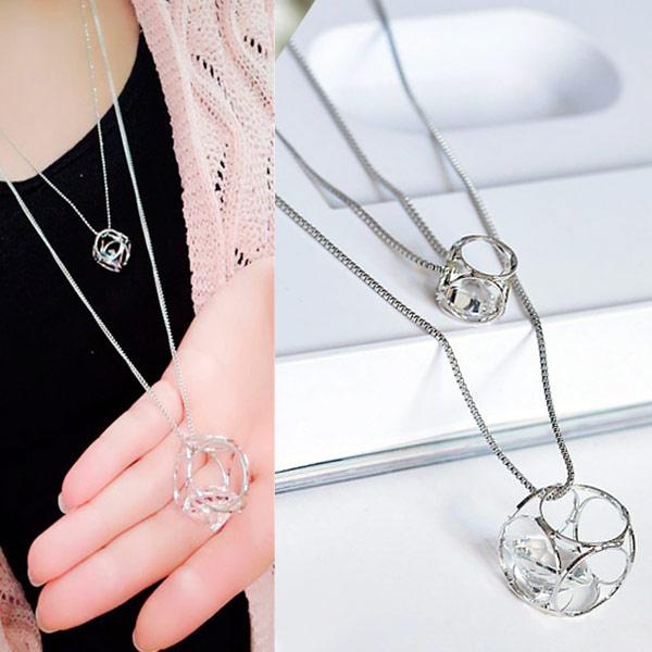 Mode-Multi-Layer-Halskette, Zinklegierung, mit Eisenkette, Platinfarbe platiniert, Kastenkette & mit Strass, frei von Blei & Kadmium, 550x700mm, verkauft per 21.65 ZollInch Strang