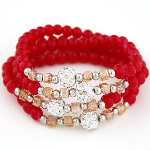 Glasperlen Multilayer Armbänder, Zinklegierung, mit Kristall, mit Strass, rot, frei von Blei & Kadmium, 700x10mm, verkauft per ca. 27.56 ZollInch Strang