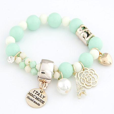 Harz Armbänder, Zinklegierung, mit Harz-Perle, goldfarben plattiert, Armband  Bettelarmband, hellgrün, frei von Blei & Kadmium, 175mm, verkauft per ca. 6.89 ZollInch Strang