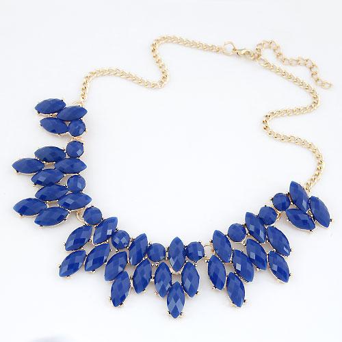 Mode Statement Halskette, Zinklegierung, mit Harz, mit Verlängerungskettchen von 5cm, goldfarben plattiert, facettierte, frei von Blei & Kadmium, 400x140x35mm, verkauft per ca. 15.75 ZollInch Strang