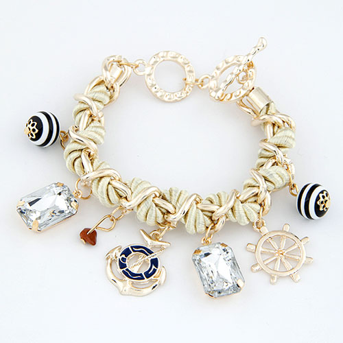 Kette gewebte Armbänder, Zinklegierung, mit Acryl, goldfarben plattiert, Armband  Bettelarmband, frei von Blei & Kadmium, 190mm, verkauft per ca. 7 ZollInch Strang