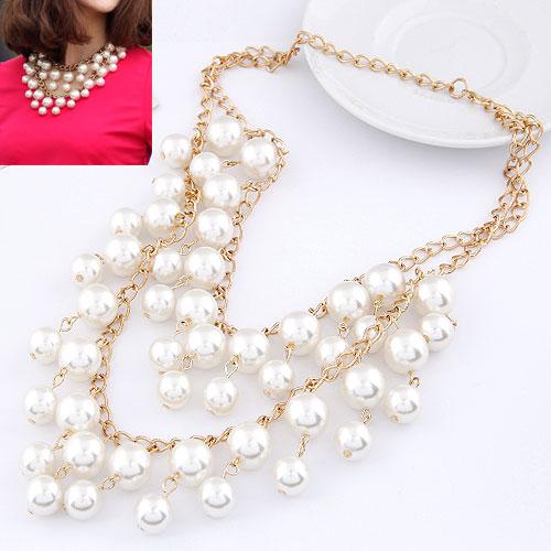 Plastik-Perlenkette, Zinklegierung, mit ABS-Kunststoff-Perlen, rund, goldfarben plattiert, Twist oval, weiß, frei von Blei & Kadmium, 400mm-600mm, verkauft per ca. 15.75 ZollInch Strang