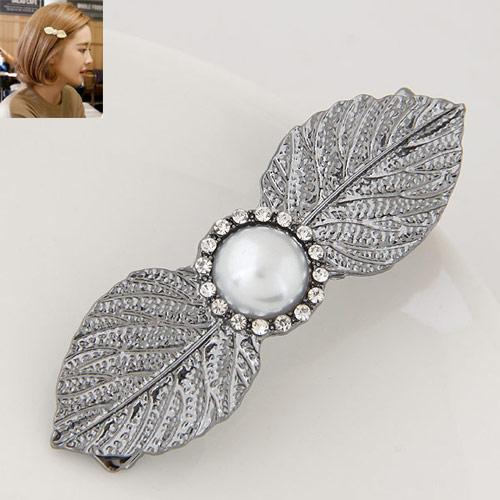 Schnabelspange, Zinklegierung, mit ABS-Kunststoff-Perlen, Blatt, metallschwarz plattiert, mit Strass, frei von Blei & Kadmium, 63x20mm, verkauft von PC