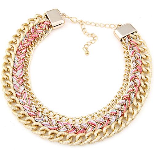 Kette Woven Halskette, Zinklegierung, mit Wolle, mit Verlängerungskettchen von 5cm, goldfarben plattiert, frei von Blei & Kadmium, 400x32mm, verkauft per ca. 15.75 ZollInch Strang
