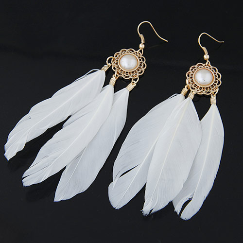 Mode-Feder-Ohrring, Zinklegierung, mit Feder, Federn, goldfarben plattiert, weiß, frei von Blei & Kadmium, 100x17mm, verkauft von Paar