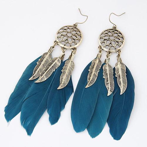 Mode-Feder-Ohrring, Zinklegierung, mit Feder, Federn, antike Goldfarbe plattiert, pfauenblau, frei von Blei & Kadmium, 100x20mm, verkauft von Paar