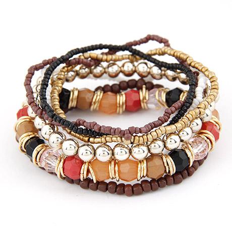 Zinklegierung Armband-Set, mit Glas-Rocailles, goldfarben plattiert, 7-Strang, frei von Blei & Kadmium, 170mm, Länge:ca. 6.69 ZollInch, 6SträngeStrang/setzen, verkauft von setzen