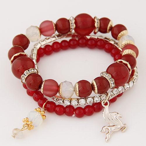 Harz Armbänder, Zinklegierung, mit Harz-Perle, goldfarben plattiert, Armband  Bettelarmband, rot, frei von Blei & Kadmium, 14mm, Länge:ca. 6.89 ZollInch, 3SträngeStrang/setzen, verkauft von setzen