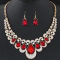 Zinklegierung Schmucksets, Ohrring & Halskette, mit Glas, Tropfen, goldfarben plattiert, rot, frei von Blei & Kadmium, 450mm, Länge:ca. 17.72 ZollInch, verkauft von setzen