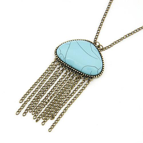 Zinklegierung Pullover Halskette, mit Synthetische Türkis, QuasteTroddel, antike Bronzefarbe plattiert, Twist oval, frei von Blei & Kadmium, 700mm, verkauft per ca. 27.5 ZollInch Strang