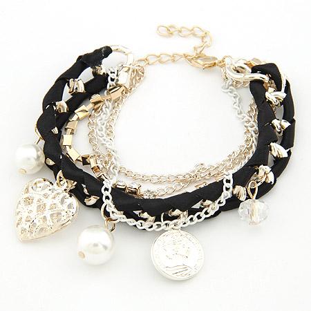 Kette gewebte Armbänder, Zinklegierung, mit ABS-Kunststoff-Perlen, mit Verlängerungskettchen von 5cm, plattiert, Armband  Bettelarmband, schwarz, frei von Blei & Kadmium, 180mm, verkauft per ca. 7.09 ZollInch Strang