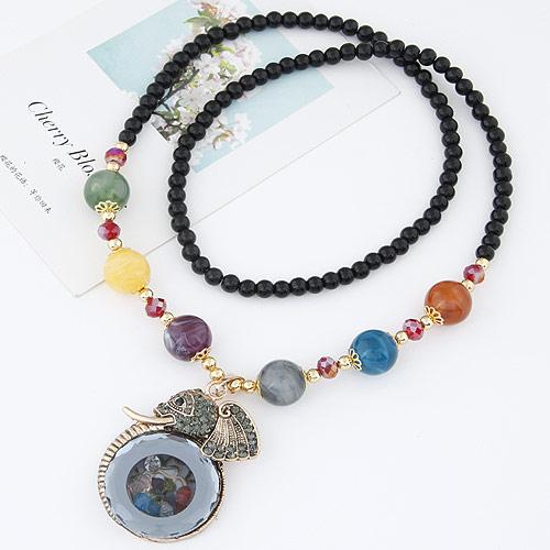 Glas Pullover Kette Halskette, Zinklegierung, mit Glas, Elephant, plattiert, frei von Blei & Kadmium, 700mm, verkauft per ca. 27.56 ZollInch Strang