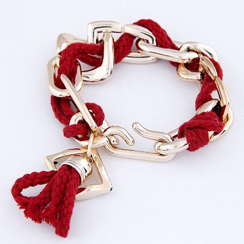 Verkupferter Kunststoff Armbänder, mit Wolle, goldfarben plattiert, rot, frei von Blei & Kadmium, 200mm, verkauft per ca. 7.87 ZollInch Strang