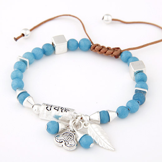 Zinklegierung Woven Ball Armbänder, mit Acryl, antik silberfarben plattiert, blau, frei von Blei & Kadmium, 170mm, verkauft per ca. 6.5 ZollInch Strang