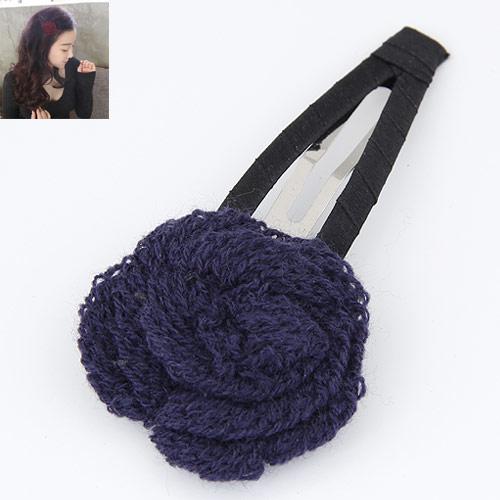 Klick Klack Spange, Zinklegierung, mit Wolle, Blume, Platinfarbe platiniert, tiefblau, frei von Blei & Kadmium, 100x48mm, verkauft von PC
