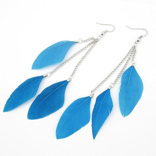 Mode-Feder-Ohrring, Zinklegierung, mit Feder, Federn, Platinfarbe platiniert, blau, frei von Blei & Kadmium, 120mm, verkauft von Paar