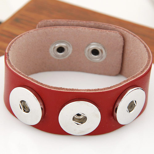 Snap-Knopf-Armband, Zinklegierung, mit Kuhhaut, Platinfarbe platiniert, rot, frei von Blei & Kadmium, 180x24mm, verkauft per ca. 7 ZollInch Strang