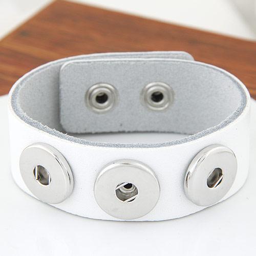 Snap-Knopf-Armband, Zinklegierung, mit Kuhhaut, Platinfarbe platiniert, weiß, frei von Blei & Kadmium, 180x24mm, verkauft per ca. 7 ZollInch Strang