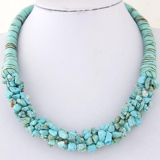 Mode Türkis Halskette, Synthetische Türkis, mit Wolle, Klumpen, blau, 400mm, verkauft per ca. 15.75 ZollInch Strang