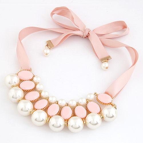 Plastik-Perlenkette, Zinklegierung, mit ABS-Kunststoff-Perlen & Harz, rund, goldfarben plattiert, Rosa, frei von Blei & Kadmium, 600x120x40mm, verkauft per ca. 23.62 ZollInch Strang