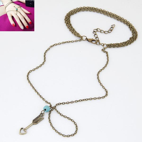 Zink-Legierung Armband-Ring, Zinklegierung, mit Türkis, antike Bronzefarbe plattiert, Oval-Kette & 3-Strang, frei von Blei & Kadmium, 185mm, Größe:6.5, verkauft per ca. 7 ZollInch Strang