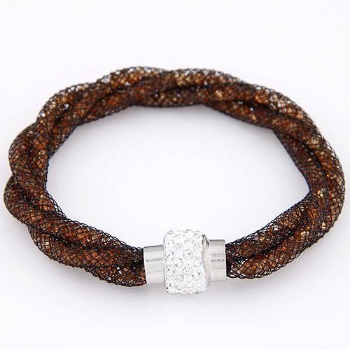 Gitter Rohr Armband, Kunststoff Netz, mit Strass, braun, 185mm, verkauft per ca. 7.28 ZollInch Strang