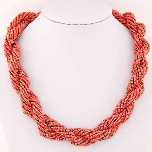 Glasperlen -Halsketten-, Zinklegierung, mit Glas-Rocailles, goldfarben plattiert, frei von Blei & Kadmium, 450x20mm, verkauft per ca. 17.72 ZollInch Strang
