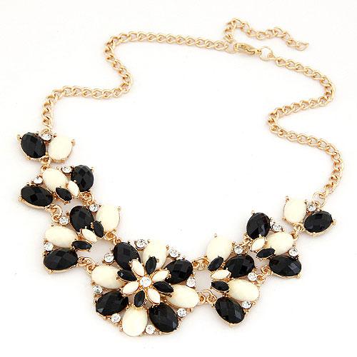 Mode Statement Halskette, Zinklegierung, mit Harz, Blume, goldfarben plattiert, schwarz, frei von Blei & Kadmium, 400x160x45mm, verkauft per ca. 15.75 ZollInch Strang