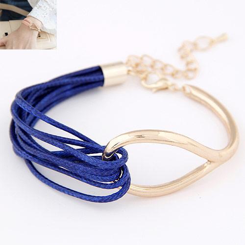 Mode Wachsschnur Armbänder, Zinklegierung, mit Gewachste Hanfschnur, goldfarben plattiert, blau, frei von Blei & Kadmium, 175x22mm, verkauft per ca. 6.89 ZollInch Strang