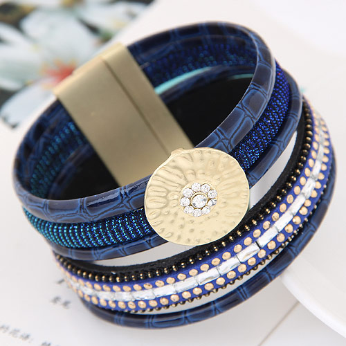 Slake Armband, Zinklegierung, mit PU Leder, goldfarben plattiert, blau, frei von Blei & Kadmium, 175x35mm, verkauft per ca. 6.89 ZollInch Strang
