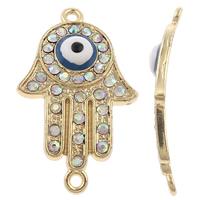 Evil Eye -Anschluss, Zinklegierung, Evil Eye Hamsa, plattiert, Jewelry Giúdach & Islam Schmuck & Emaille & mit Strass & 1/1-Schleife, keine, frei von Nickel, Blei & Kadmium, 22x35x6mm, Bohrung:ca. 2mm, 10PCs/Tasche, verkauft von Tasche